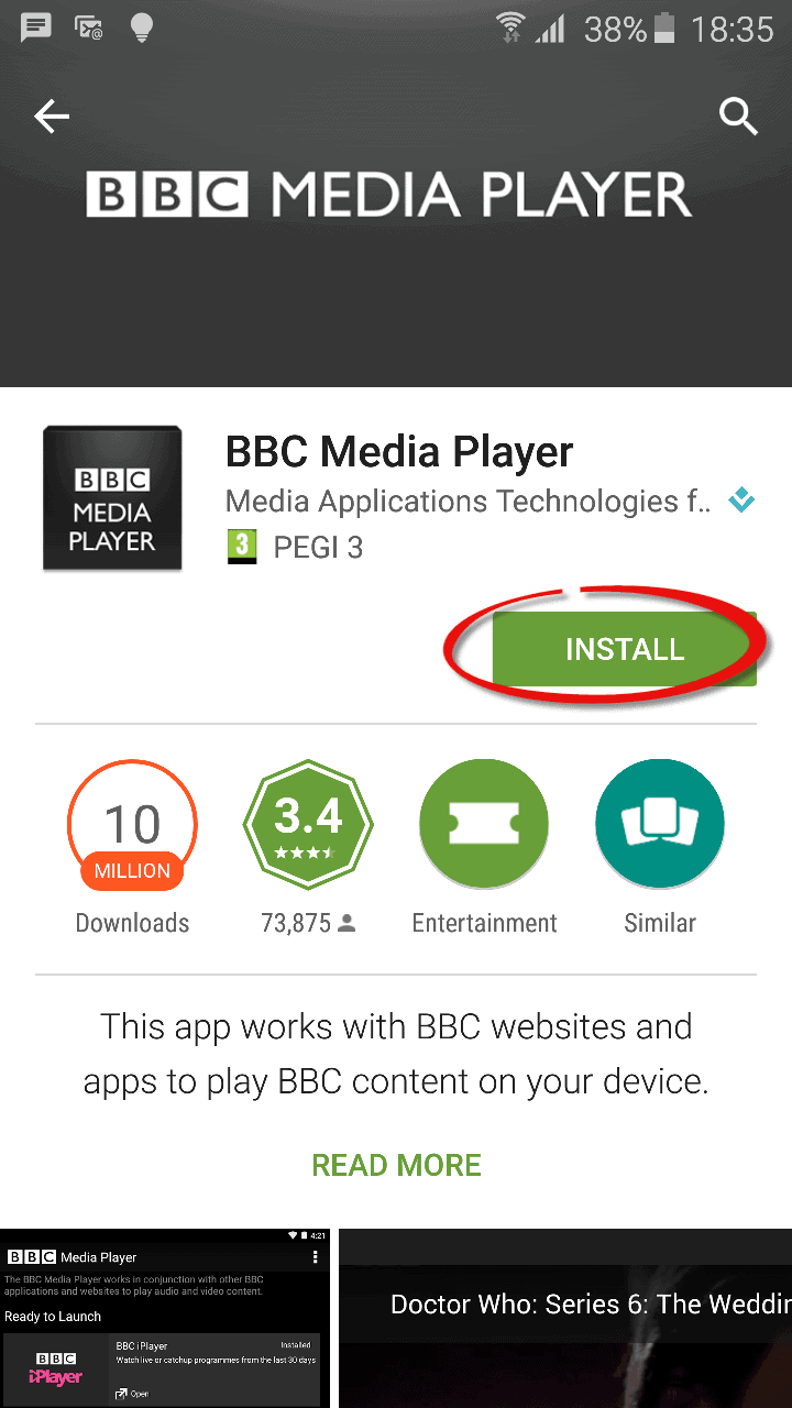 BBC Mediaplayer en France sur Android