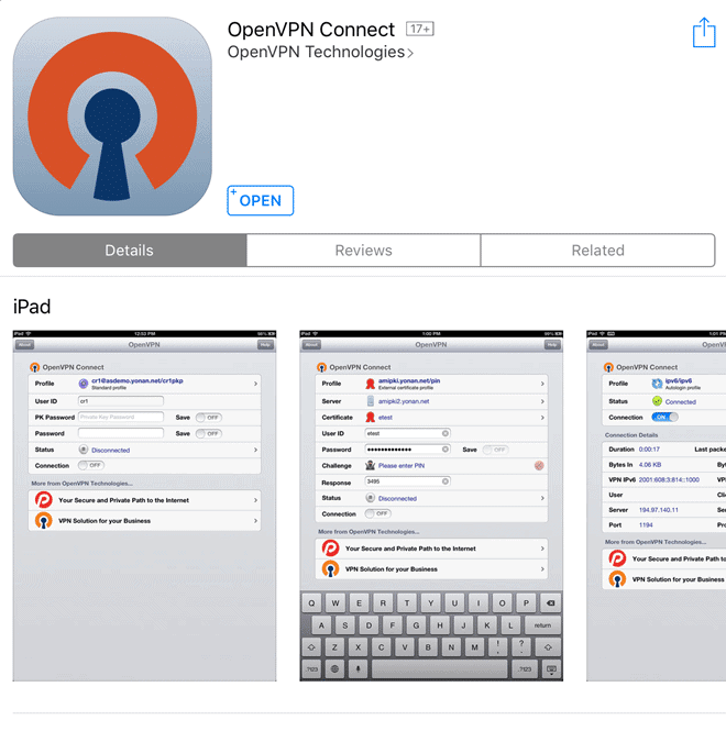 installer openvpn connect sur ios