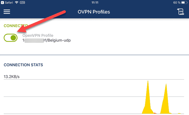 openvpn ios connection with the servers of monVPN