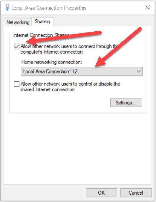 permettre connexion vpn partagée